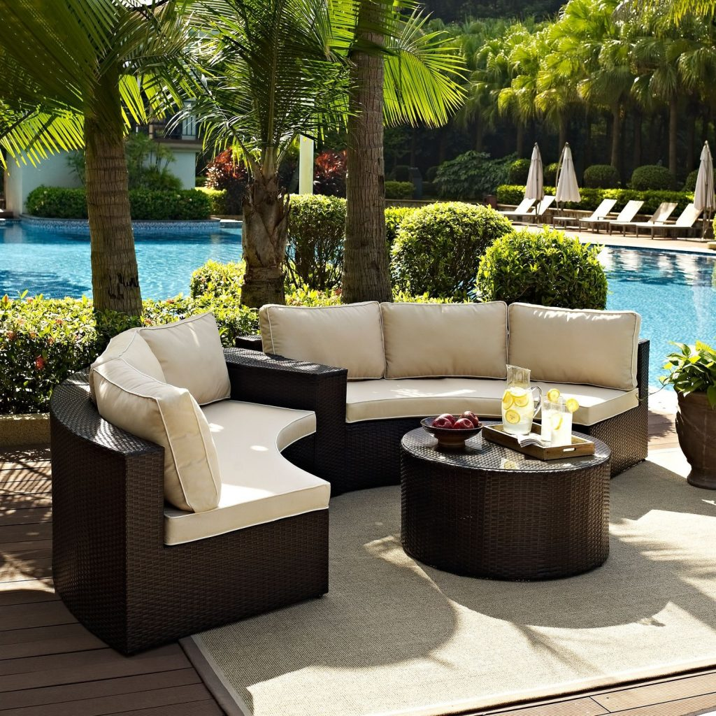 Biltmore 3 Piece Outdoor Sectional And Cocktail Table Set Brown