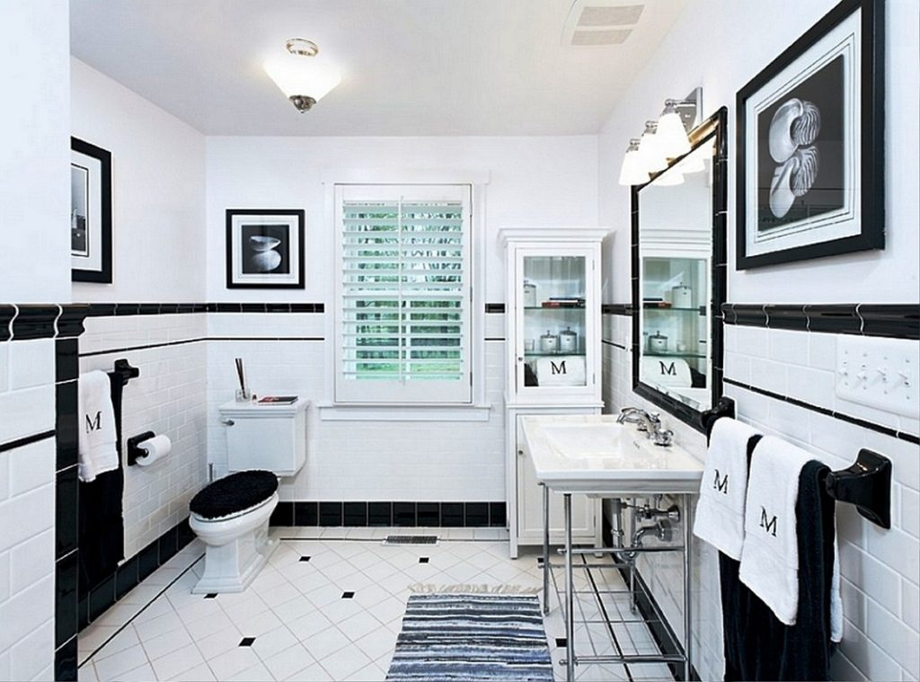Black And White Tile Bathroom Decorating Ideas Pictures Inside Black