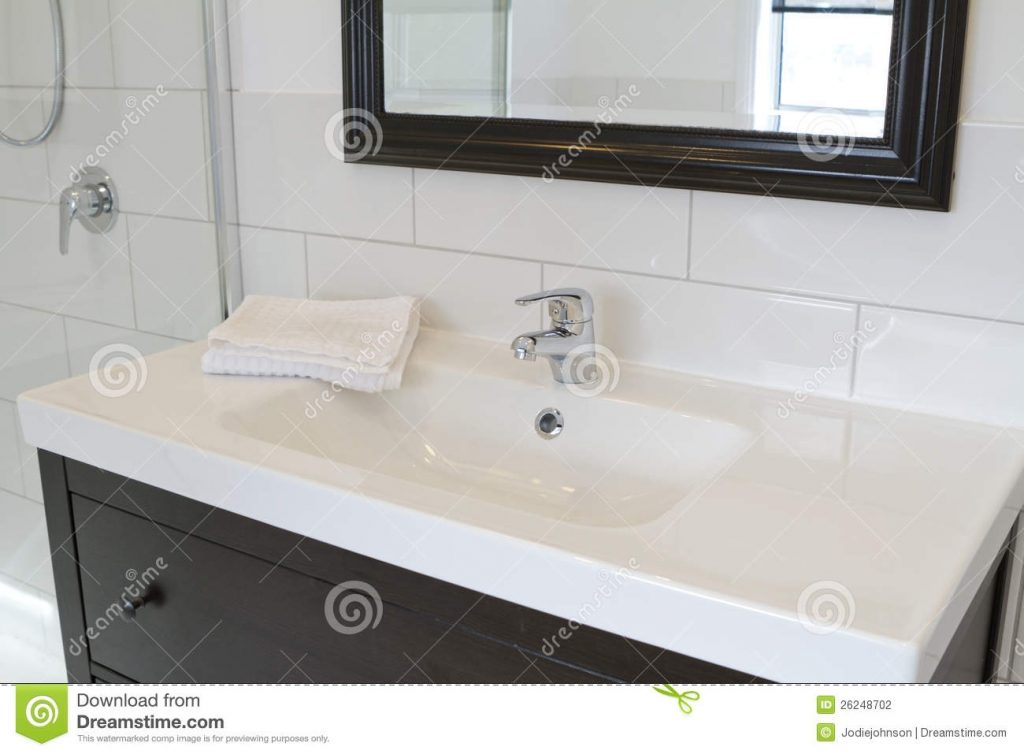 Black Bathroom Vanity And Mirror Stock Photo Image Of Wall
