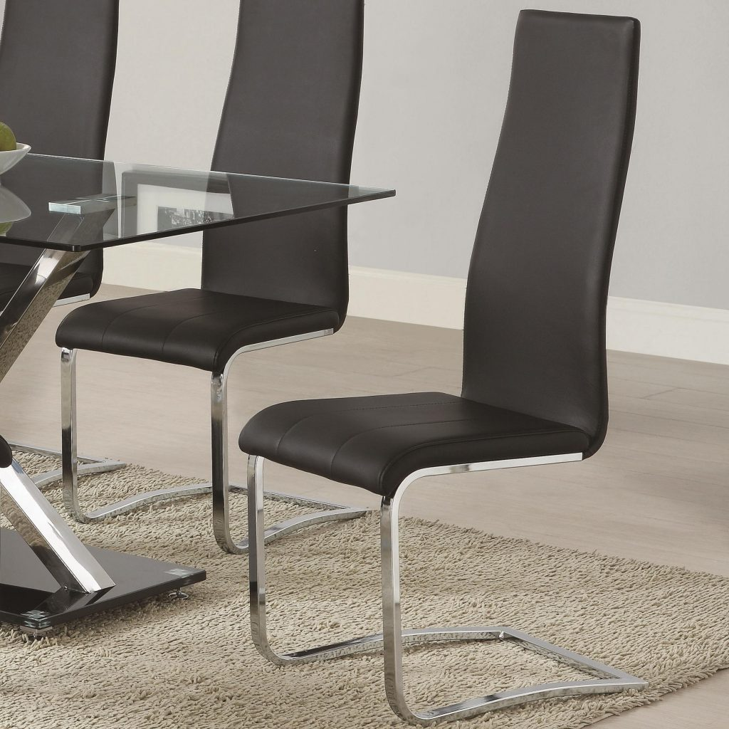 Black Faux Leather Dining Chair With Chrome Legs Coaster Wolf