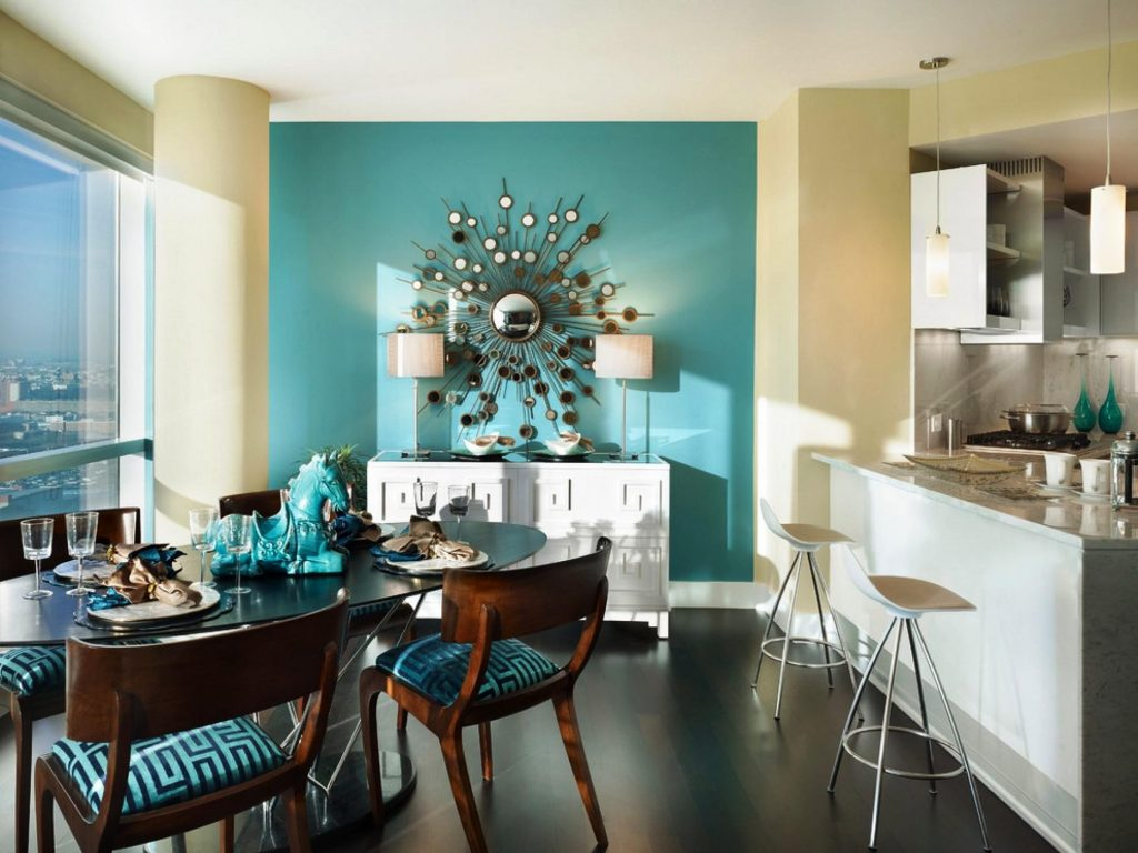 Blue Accent Wall Dining Room Biaf Media Home Design