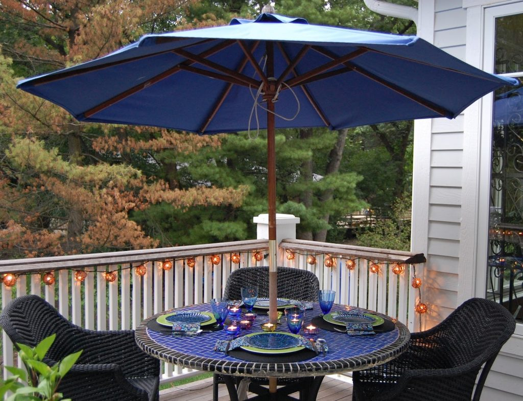 Blue Patio Furniture With Umbrella Life On The Move Decorating