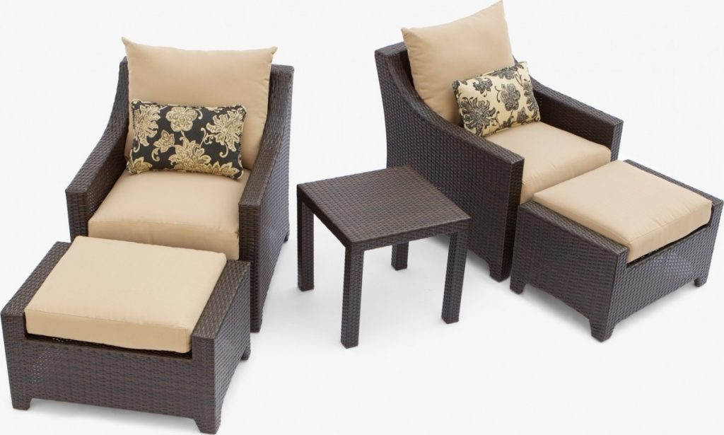 Brilliant Patio Chairs With Ottomans Delano 5 Piece Outdoor Chair