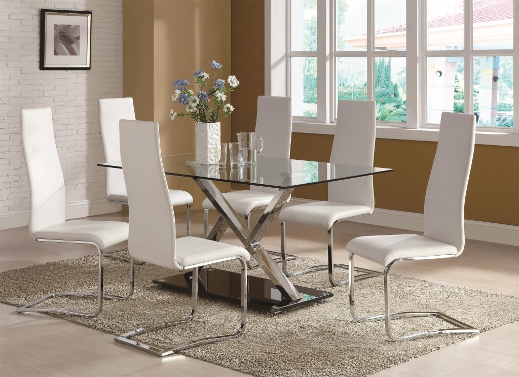 Buy Set Of 4 Modern Dining White Faux Leather Dining Chairs With