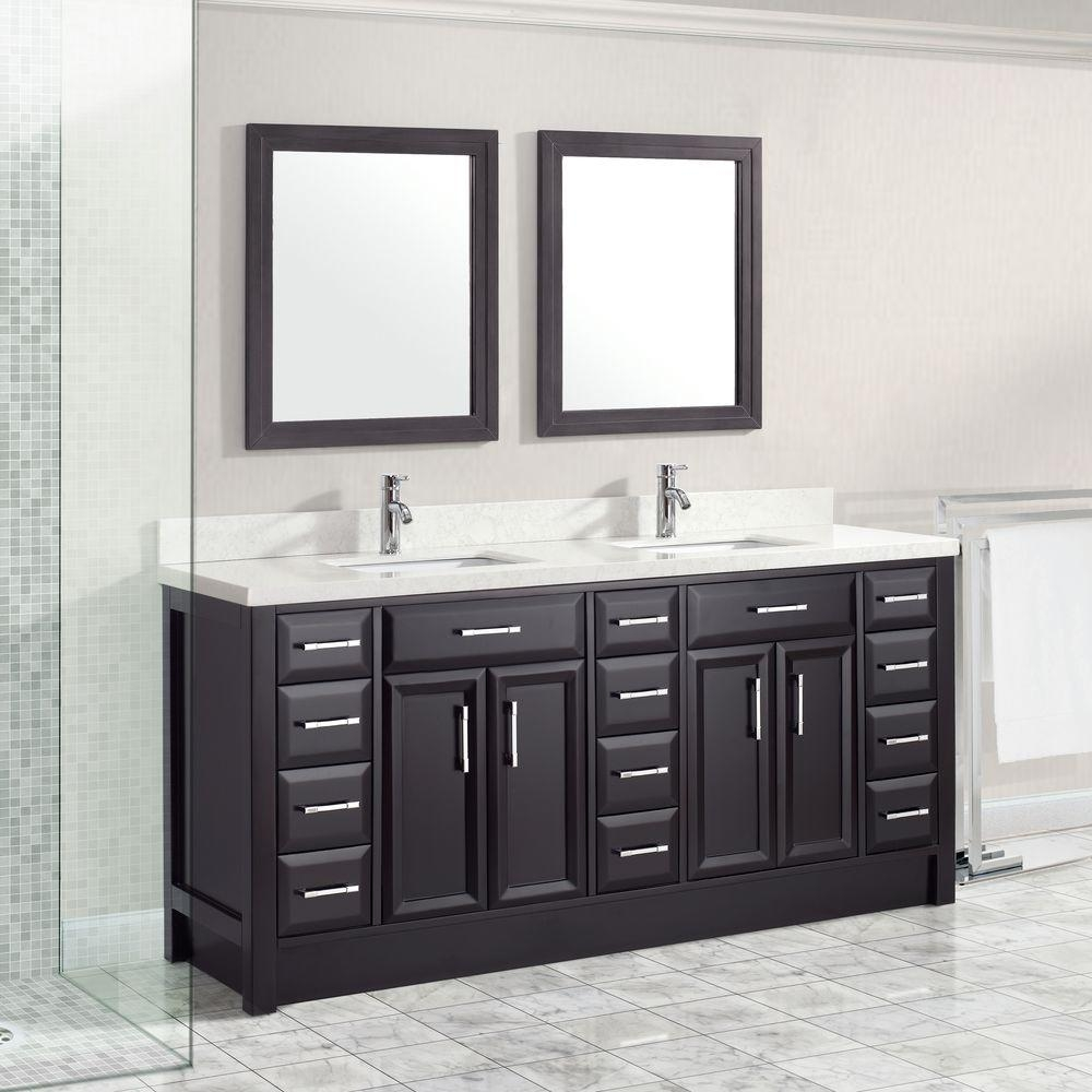 Calais 75 Inch Transitional Double Sink Bathroom Vanity Espresso Finish