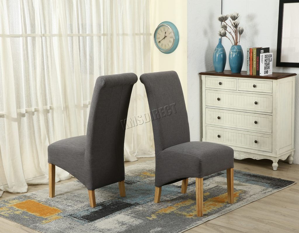 Chair Living Room Furniture Grey Cloth Dining Chairs Light Grey
