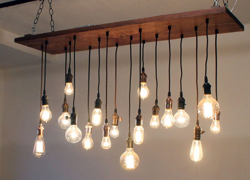 Chandelier With Edison Light Bulbs Luxury Nostalgic Reclaimed Wood