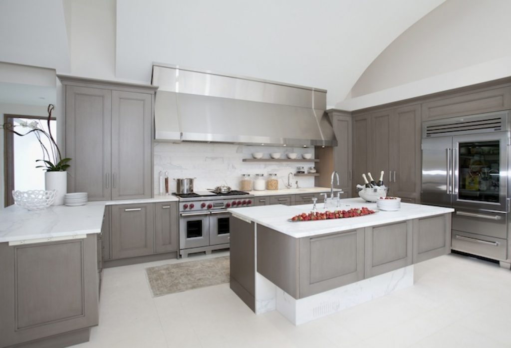 Charming Design Grey Kitchen Ideas With Rectangle Shape Grey Wooden