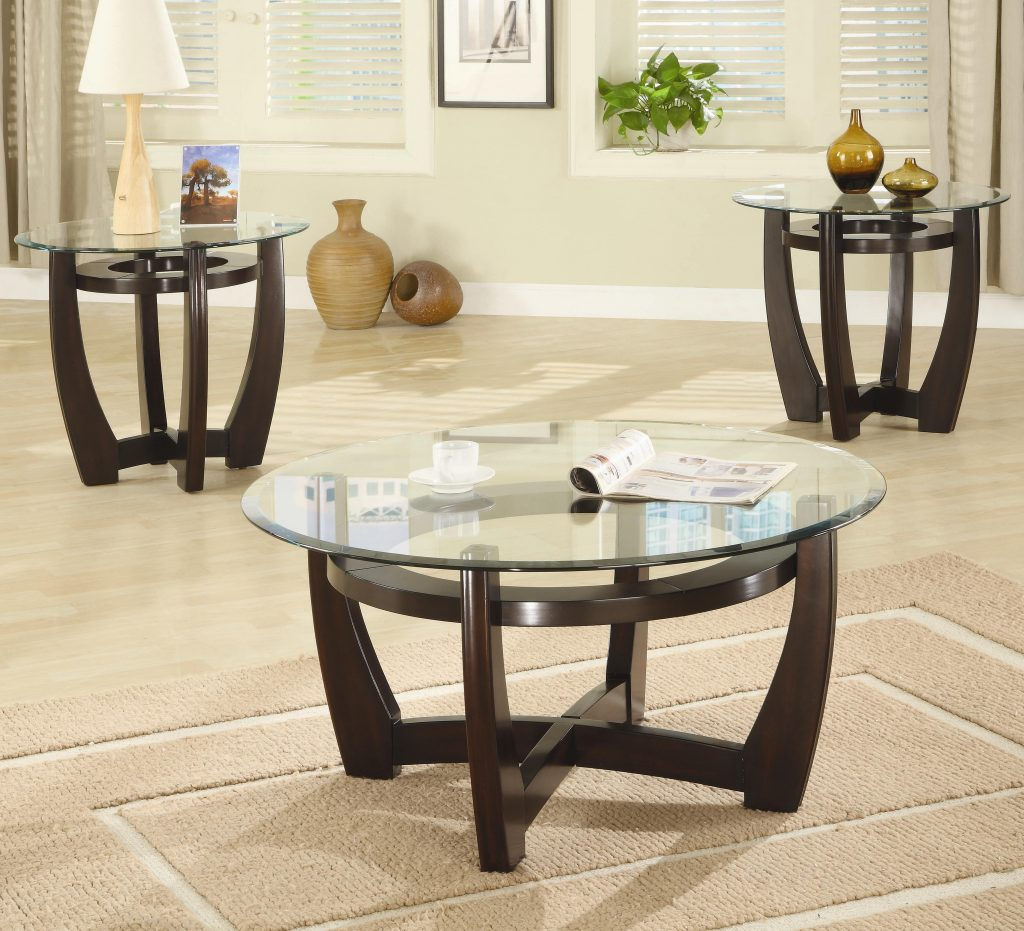 Coffee Tables Extraordinary Brown Round Minimalist Glass And Wood