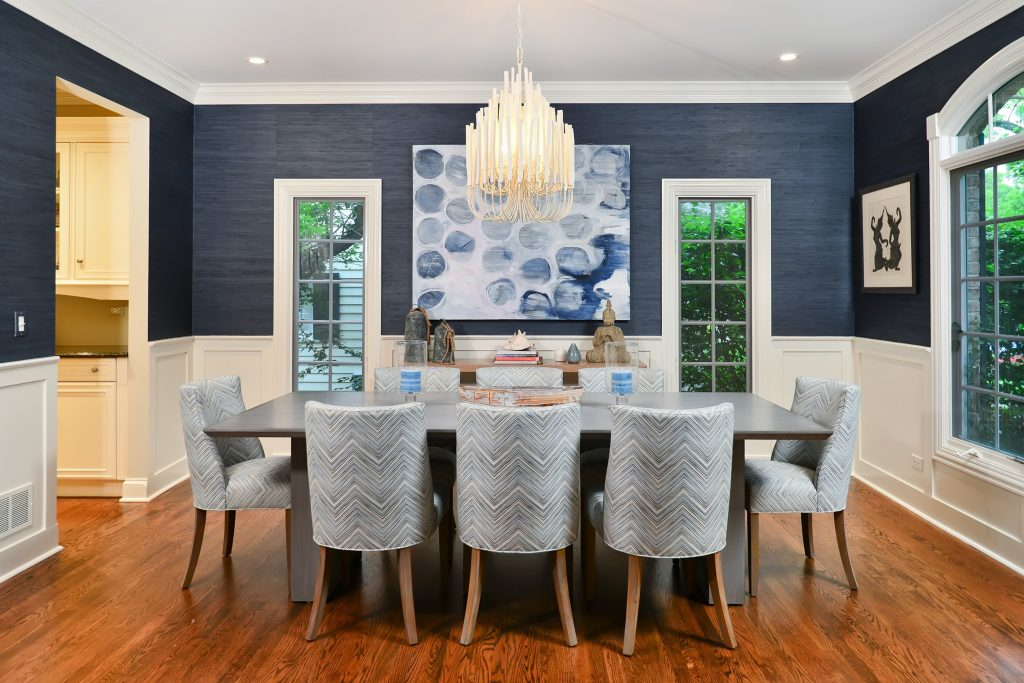 Cool Blue Accent Wall Dining Room