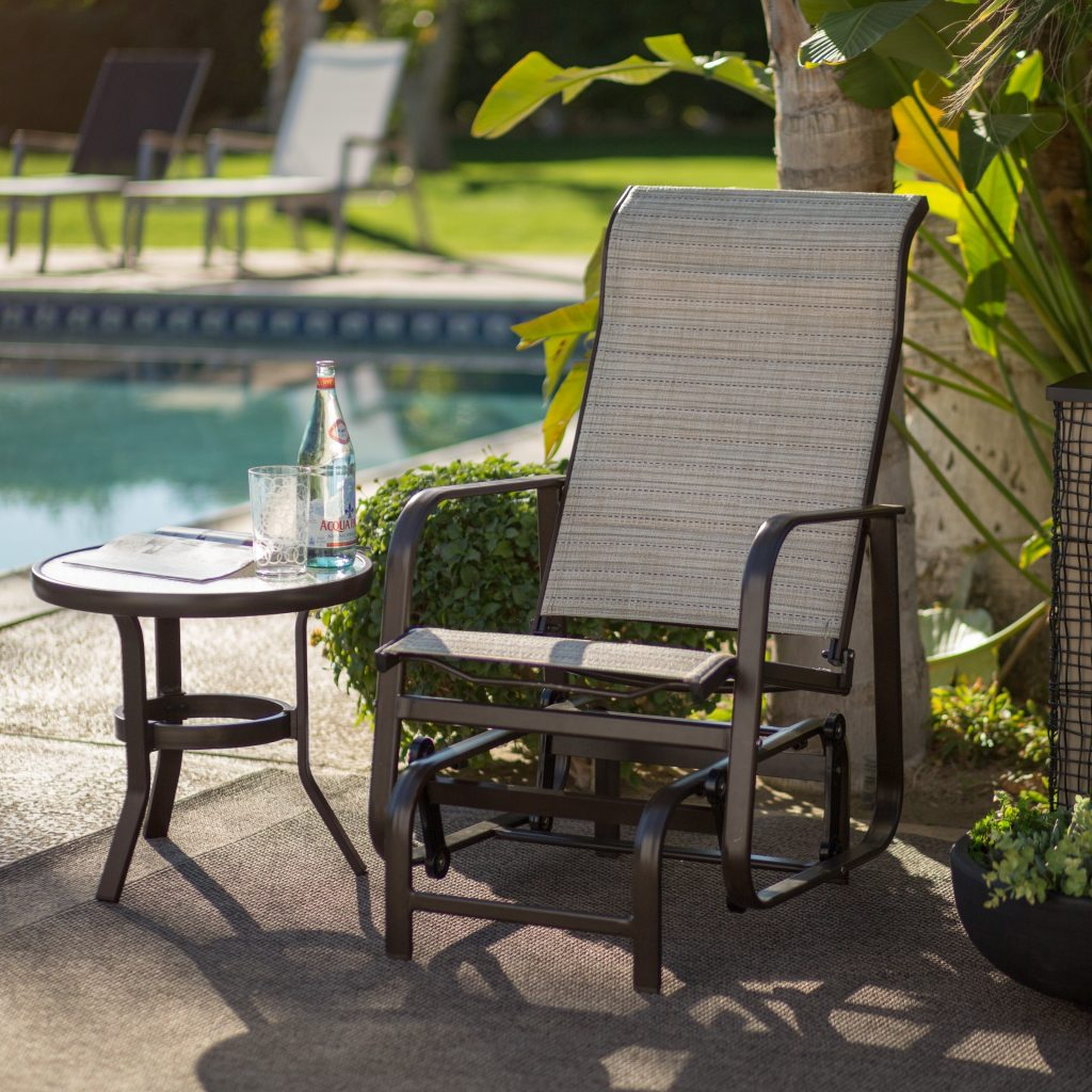 Coral Coast Del Rey Padded Sling Outdoor Glider Chair Beach