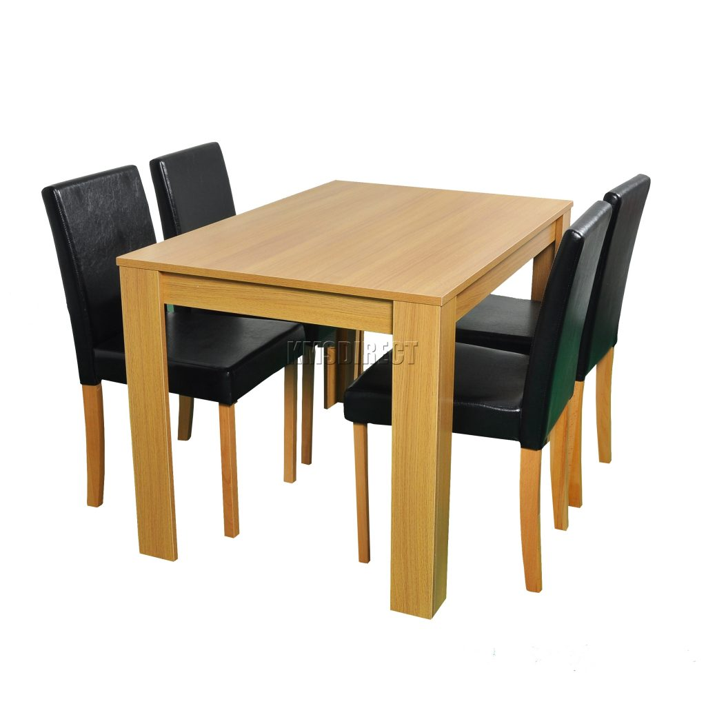 Cosmetic Damaged Wooden Dining Table And 4 Faux Leather Chairs Set