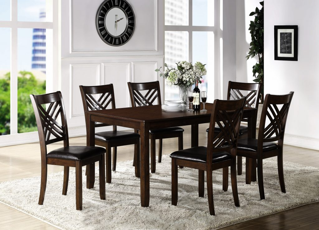 Crown Mark Eloise 2430set Dining Room Table With Six Crossback Side