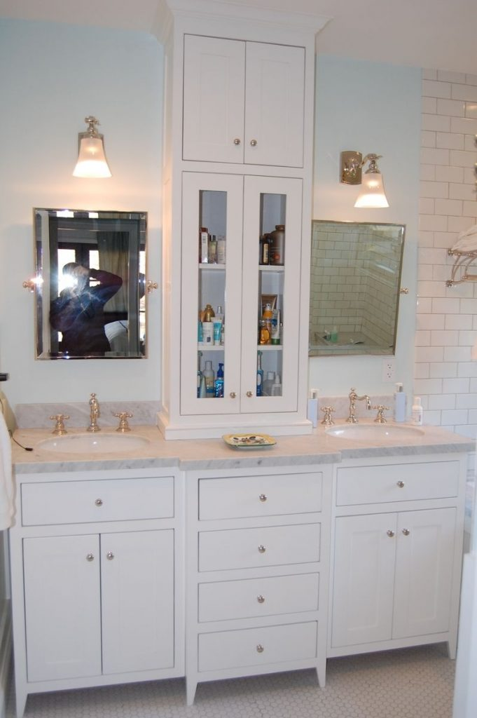 Custom White Bathroom Vanity With Tower Wooden Hammer Llc