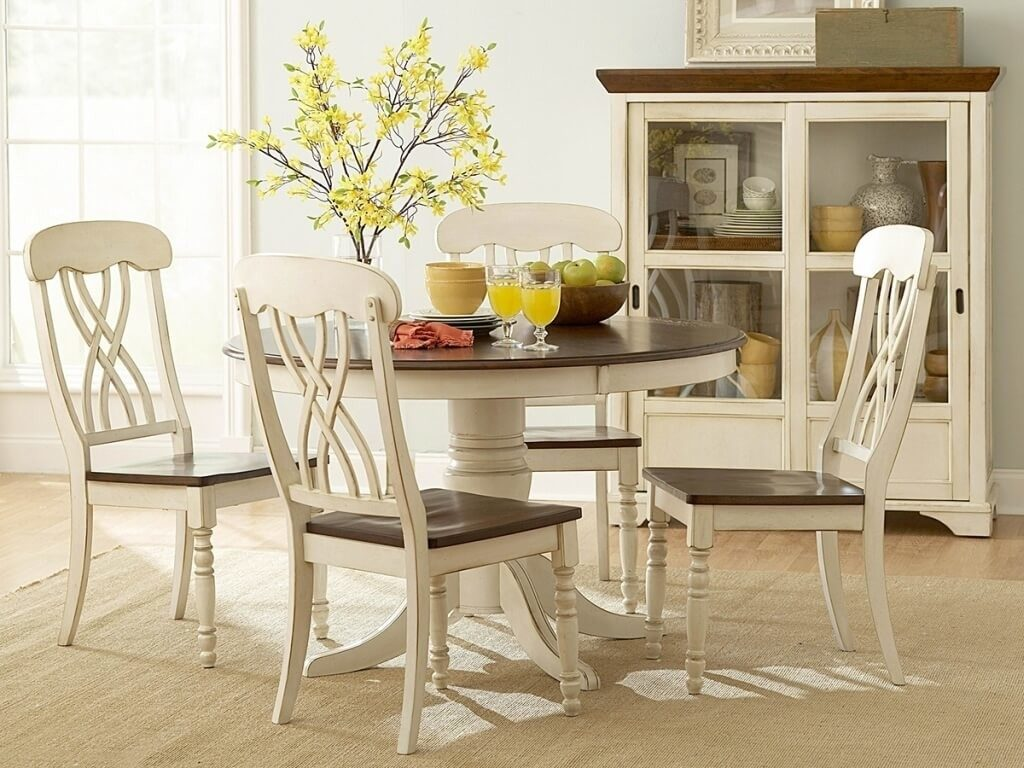 Cute Round Pedestal Dining Table Set 7 Kitchen Tables