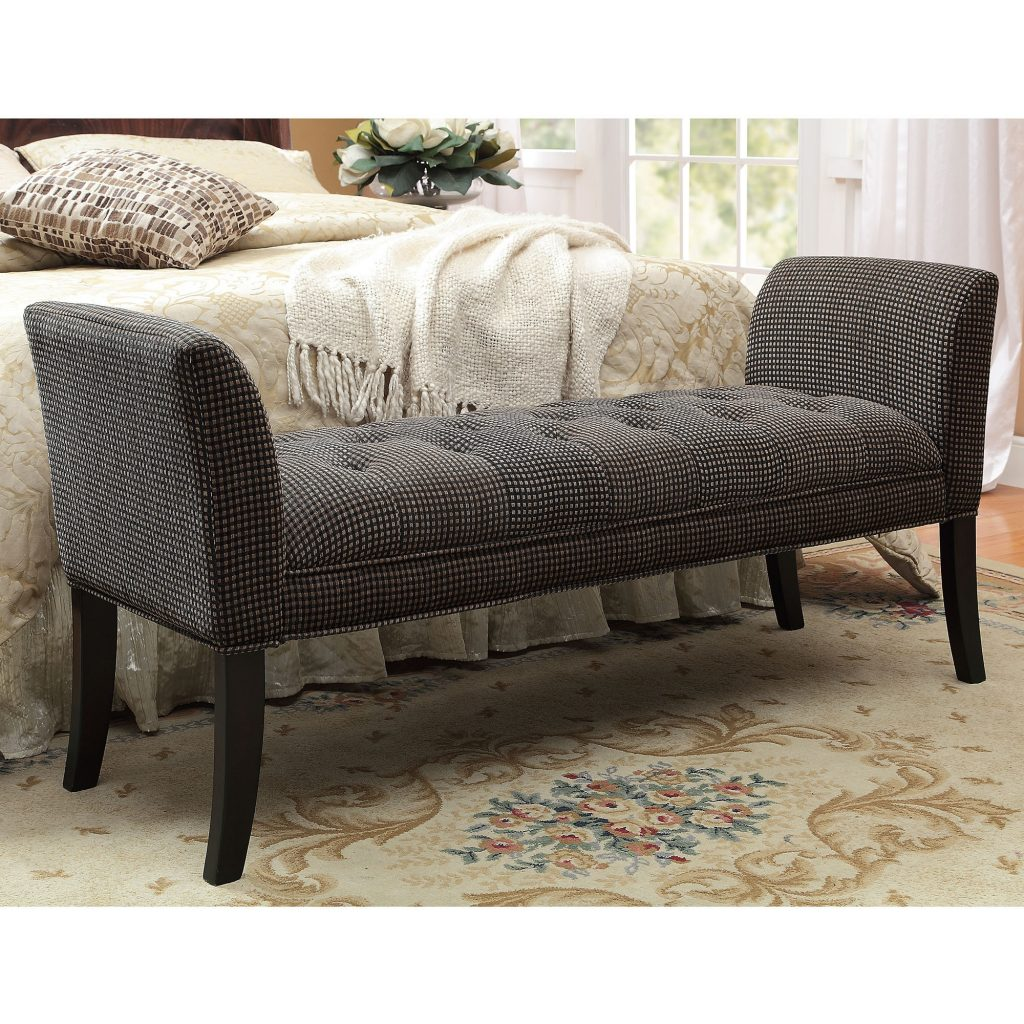 Dazzling Grey Fabric Upholstery Tufted Bedroom Benches With Arms