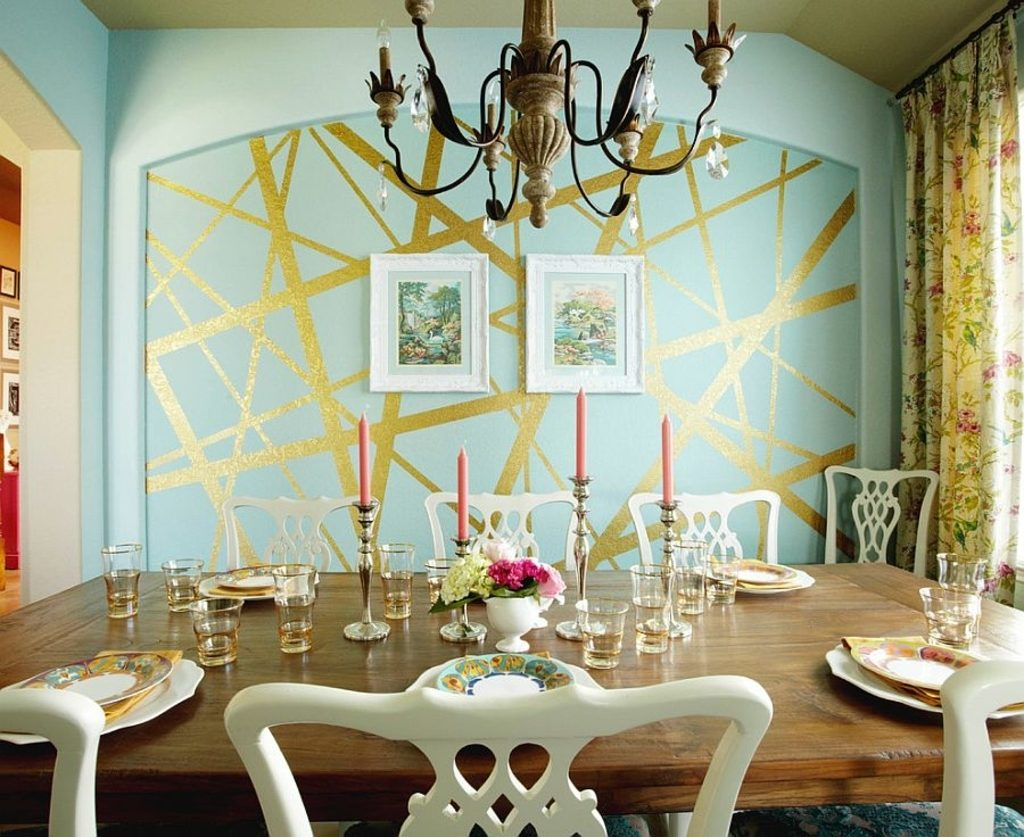 Design Ideas Eclectic Dining Room With Unique Striped Accent Wall