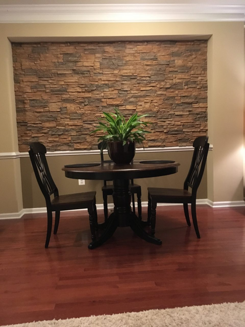 Dining Room Accent Wall Stone Style Creative Faux Panels