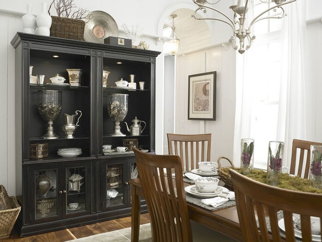 Dining Rooms Black Hutch Is The Showstopper In This White Eclectic