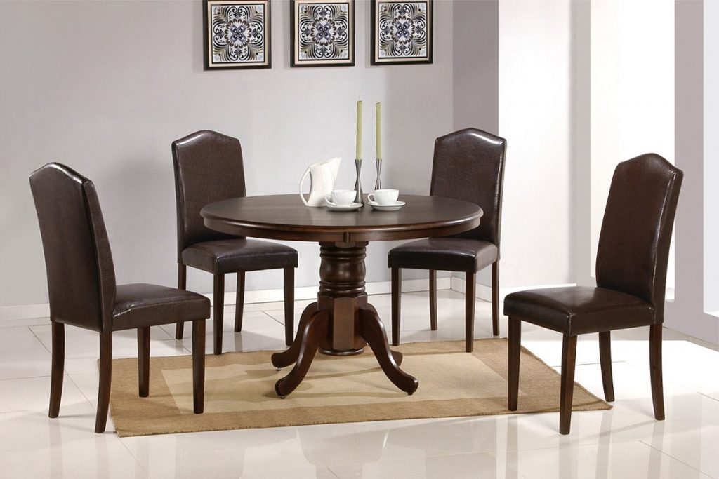 Dining Table With Round Top Faux Leather Chairs Metal Outdoor Dining
