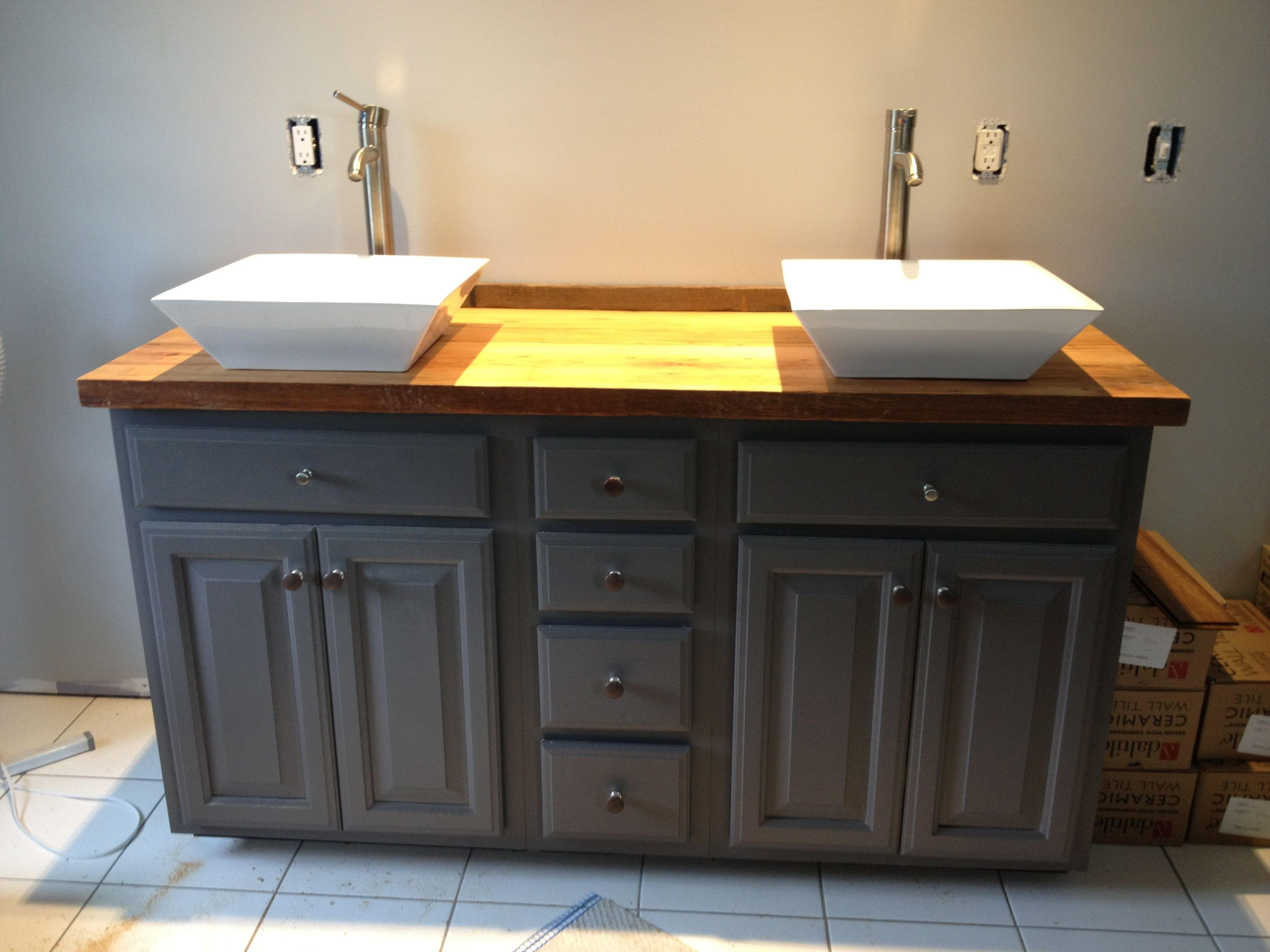 Diy Bathroom Vanity Used The Barn Wood Hemlock Pieces Finished With