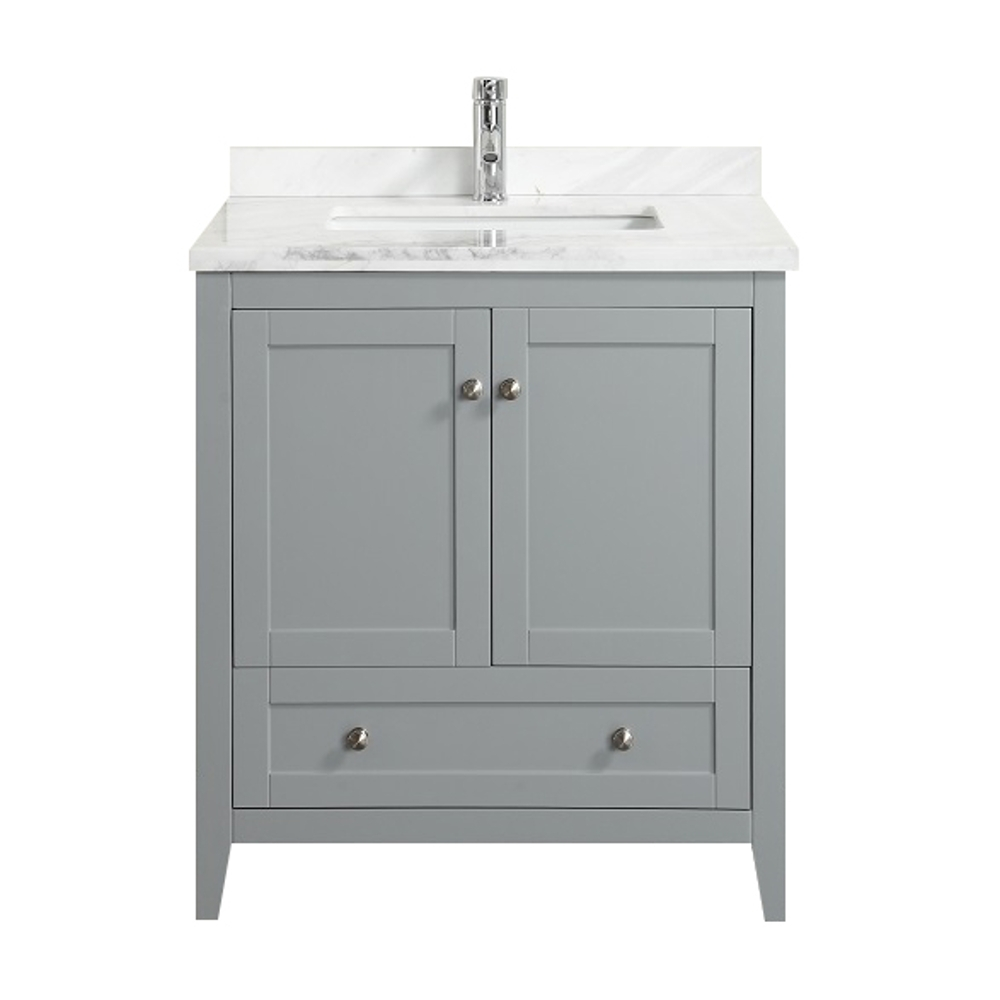 Eviva Happy 30 X 18 Transitional Grey Bathroom Vanity With White