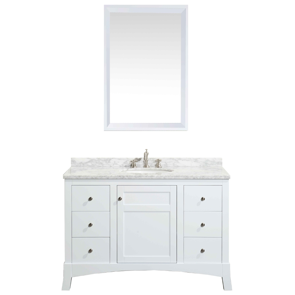 Eviva New York 48 White Bathroom Vanity With White Marble Carrera
