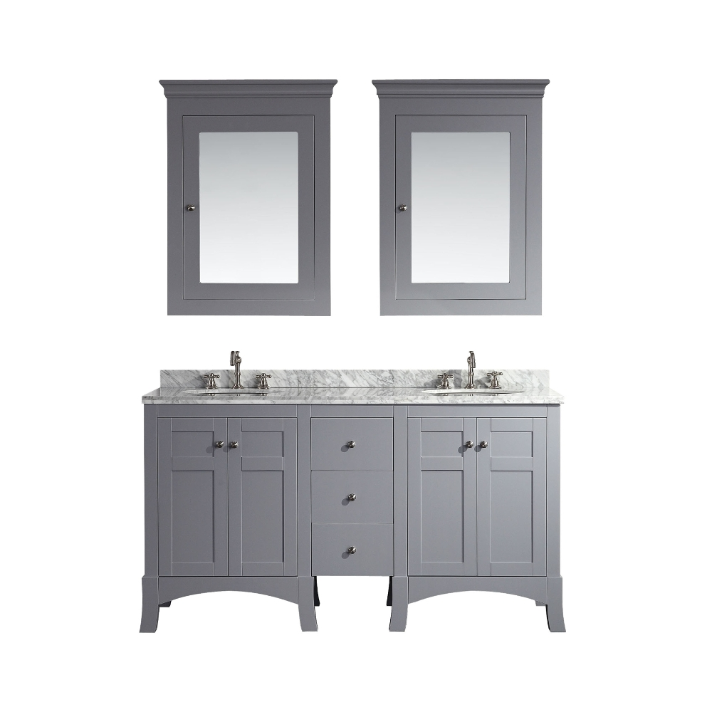 Eviva New York 60 Grey Bathroom Vanity With White Marble Carrera
