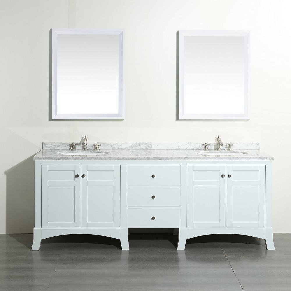 Eviva New York 72 In W X 22 In D X 34 In H Vanity In White With
