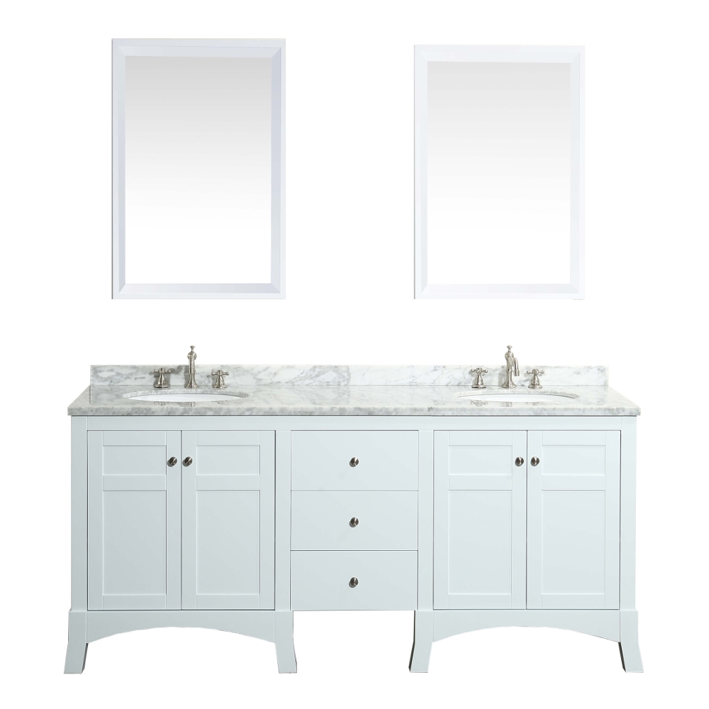 Eviva New York 72 White Bathroom Vanity With White Marble Carrera