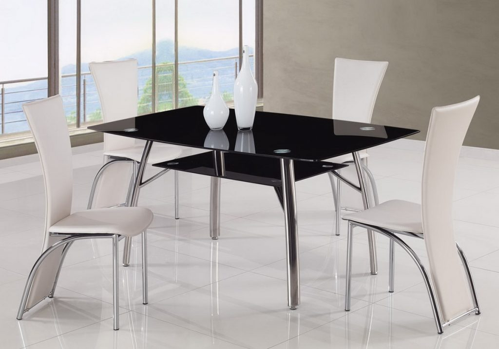 Furniture Modern Dining Room Furniture St Louis With Black Glass