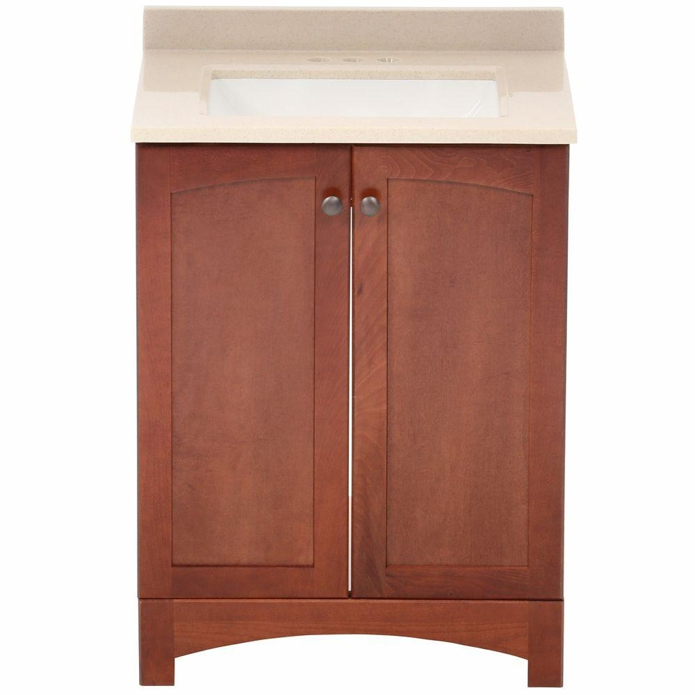 Glacier Bay Melborn 245 In W Bath Vanity In Chestnut With Solid