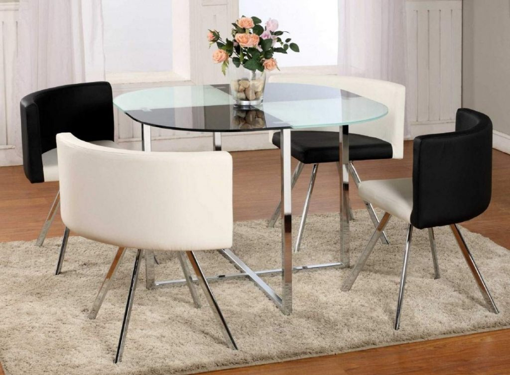 Glass Dining Table Set Tempered With Wood Base Ravishing Polished