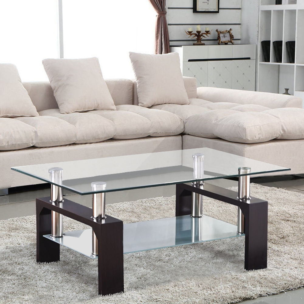 Glass Rectangular Coffee Table Living Room Coffee Table With Coffee