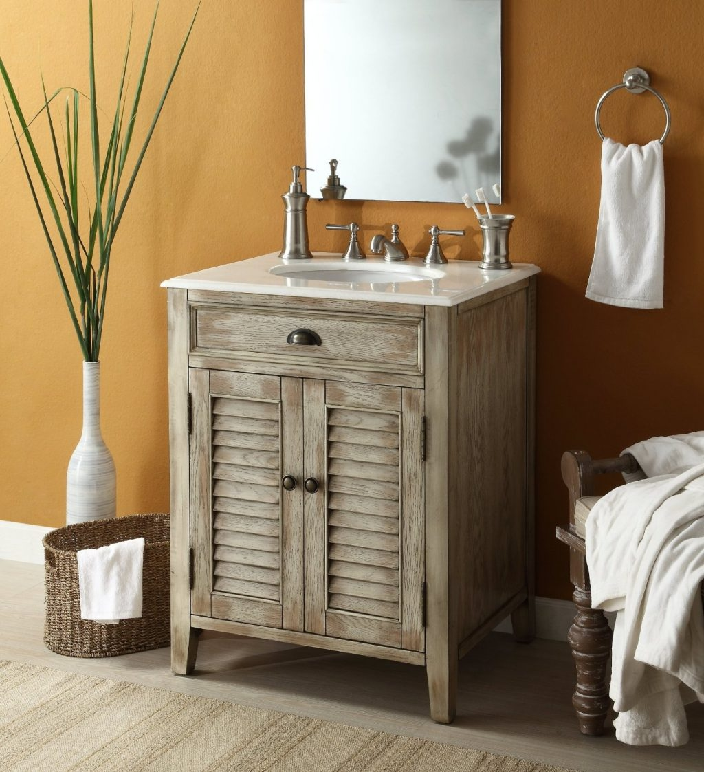 Glorious Single Sink White Distressed Rustic Bathroom Vanities With