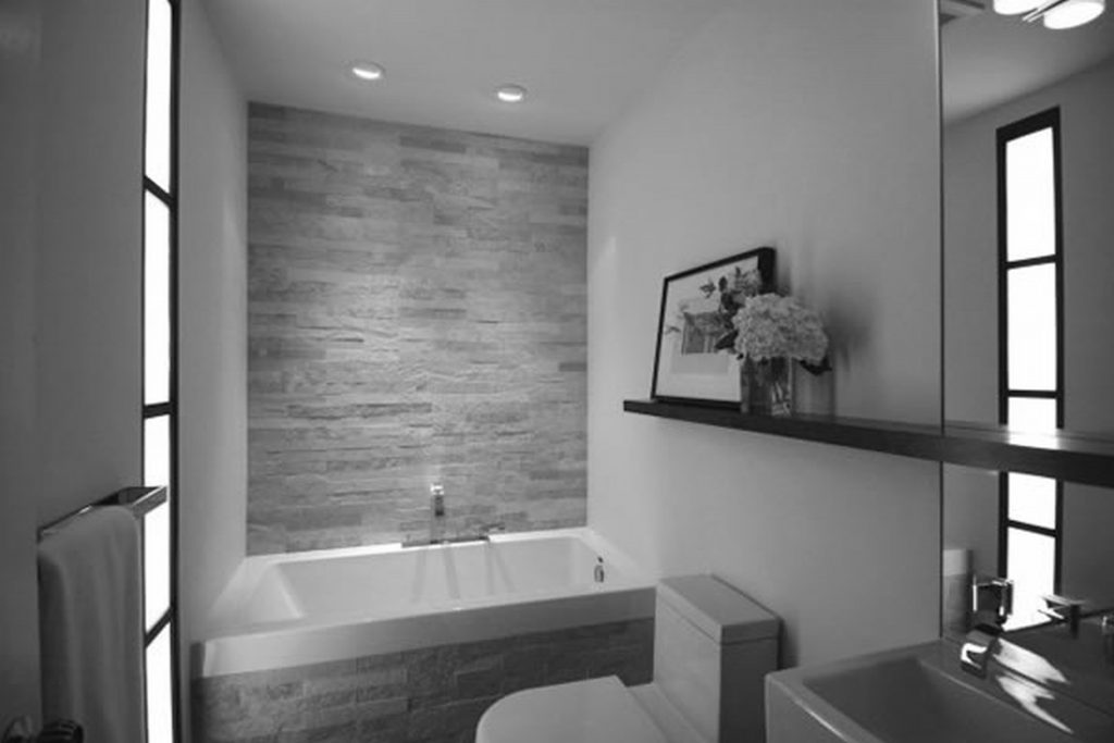 Gray And White Small Bathroom Ideas With Wall Shelf And Recessed