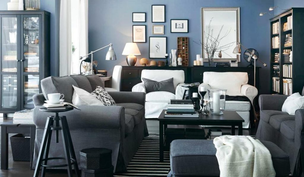 Grey And Blue Living Room Ideas Potted Orchid Mid Century