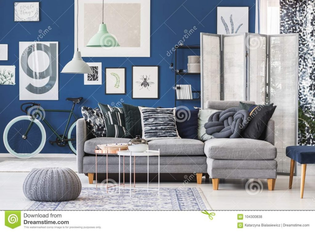 Grey Pouf In Living Room Stock Photo Image Of Pattern 104300838