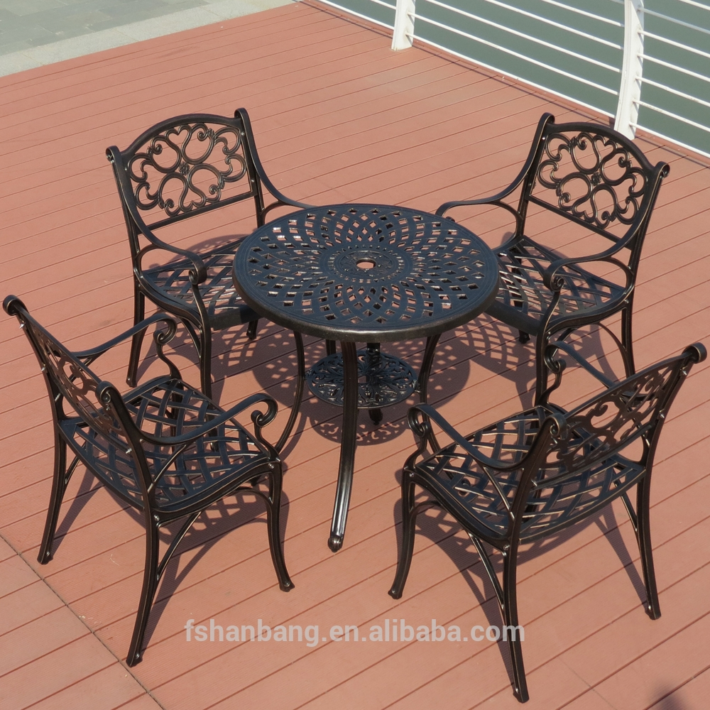 Heavy Duty Dining Table And Chairs White Bronze Anodized Aluminum