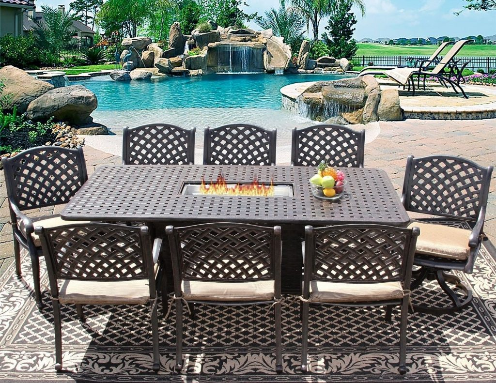 Heritage Outdoor Living Cast Aluminum Nassau Outdoor Patio 9pc