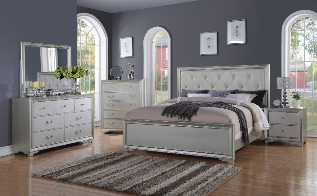Hollywood Collection Silver 6 Pc Queen Bedroom Set Queen Bedroom