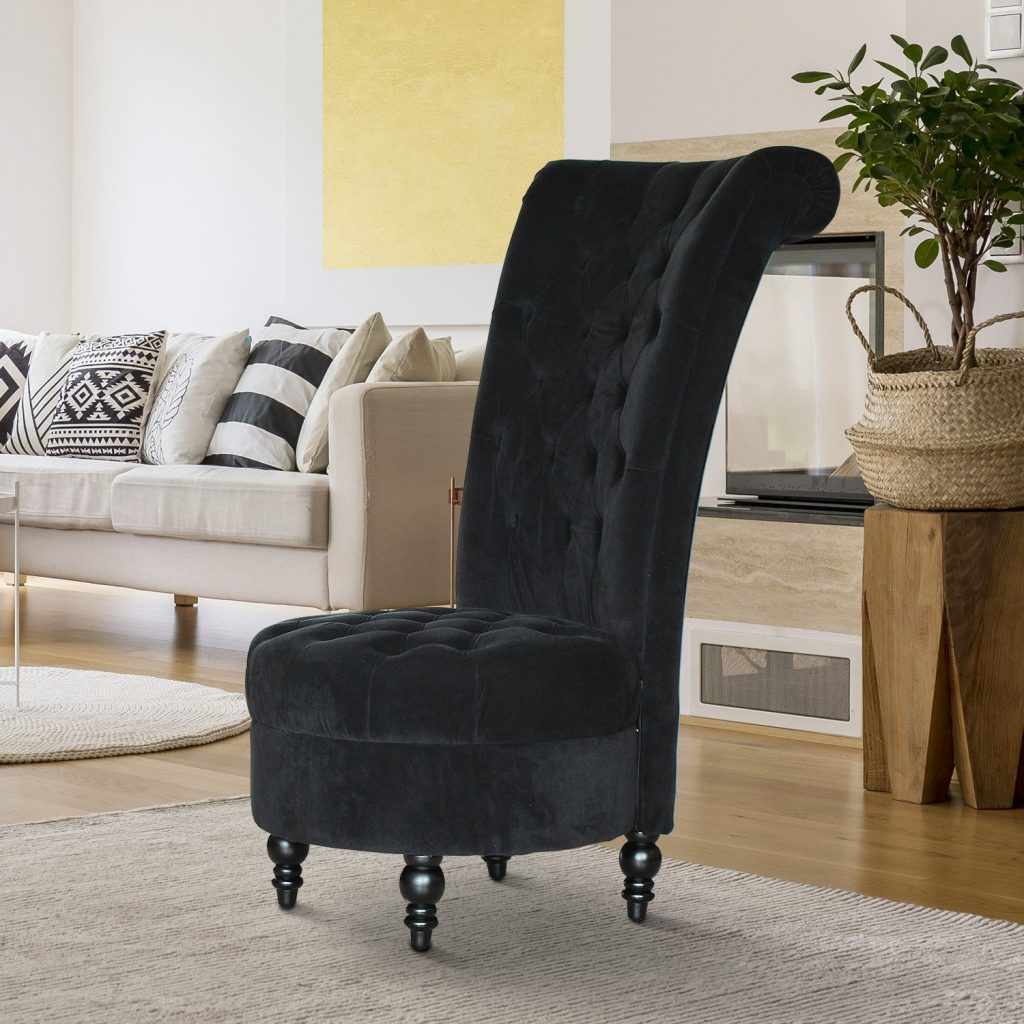 Homcom 45 Tufted High Back Velvet Accent Chair Living Room Soft
