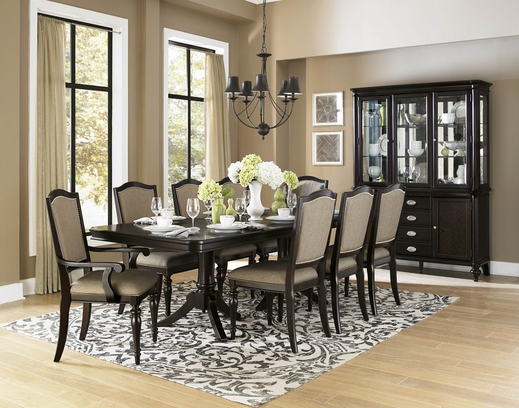 Homelegance Marston 9 Piece Double Pedestal Dining Room Set In Dark