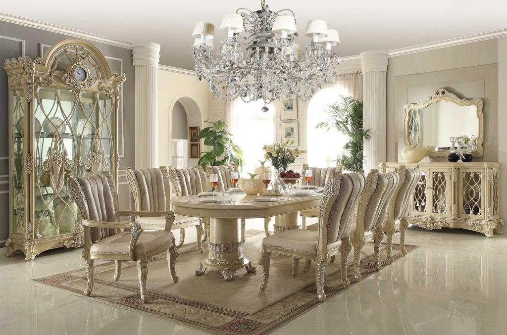Homey Design Off White 12 Pc Traditional Dining Room Set Grey Faux