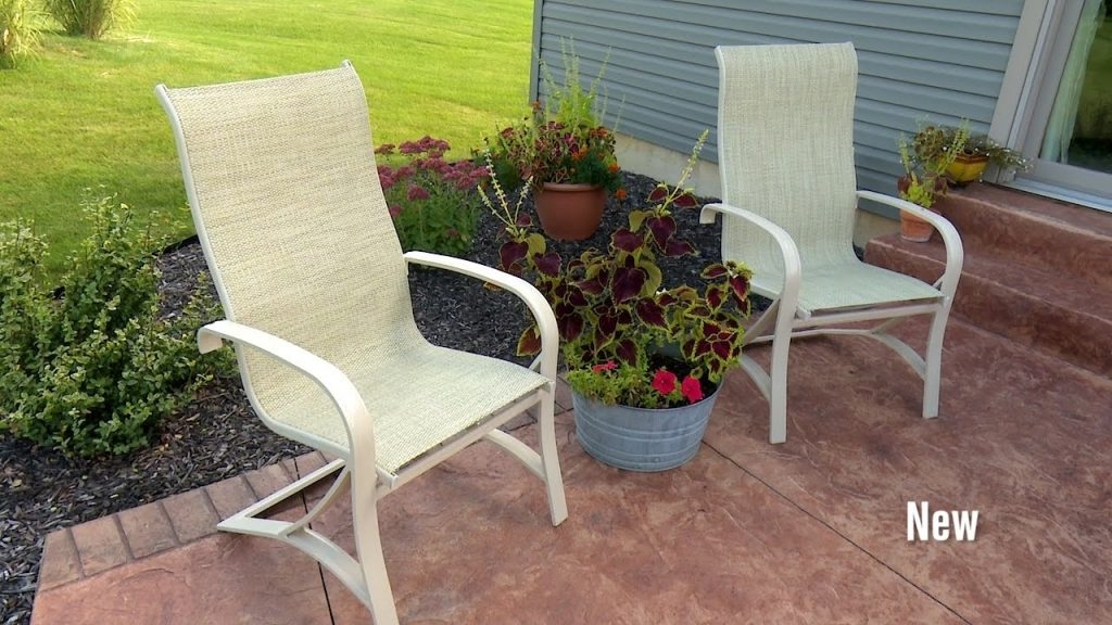 How To Replace Fabric On A Patio Sling Chair Youtube