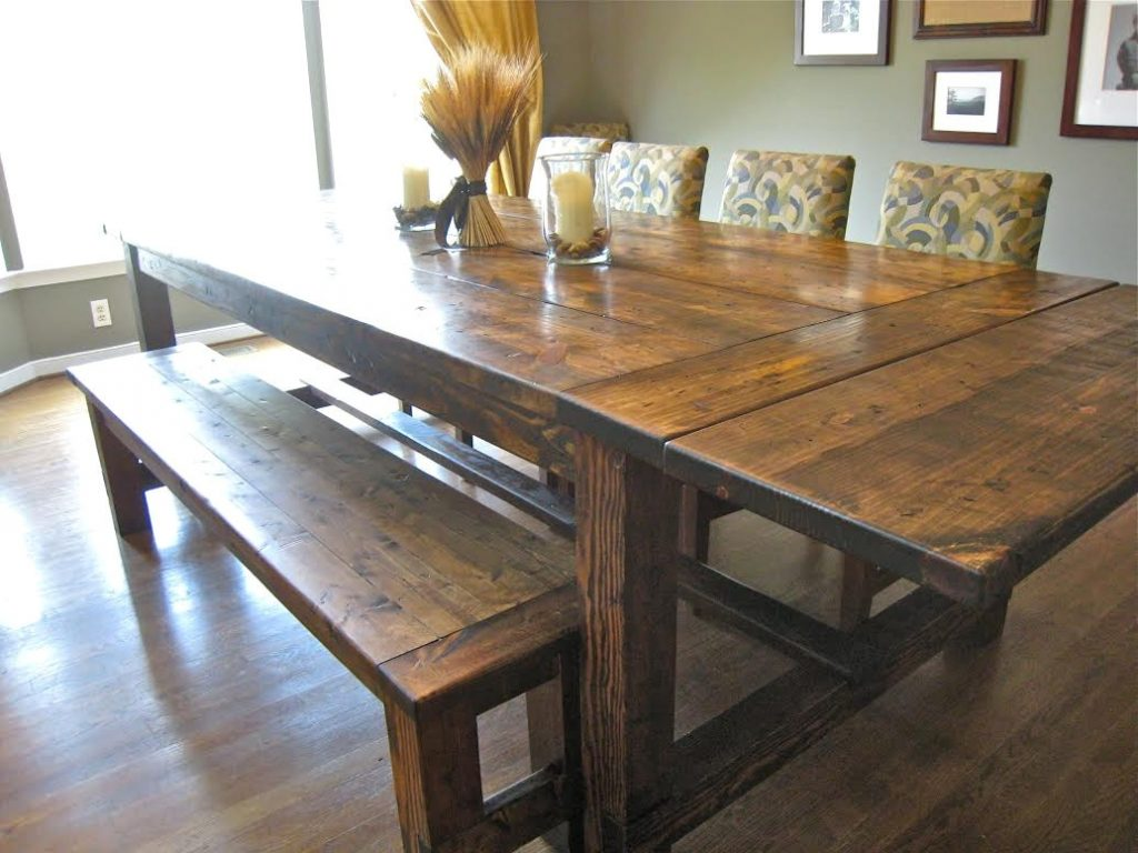 Ideal Barn Wooden Rectangle Farmhouse Dining Room Table With Bench