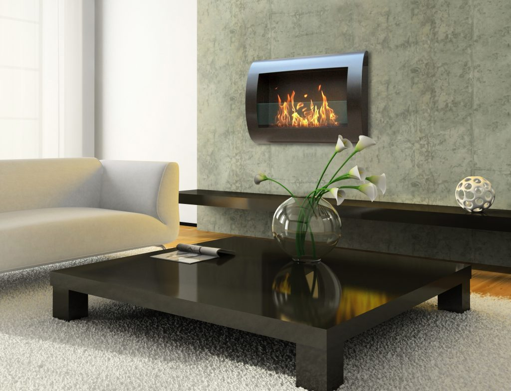 Indoor Wall Mount Fireplace Anywhere Chelsea Black Model Lifestyle