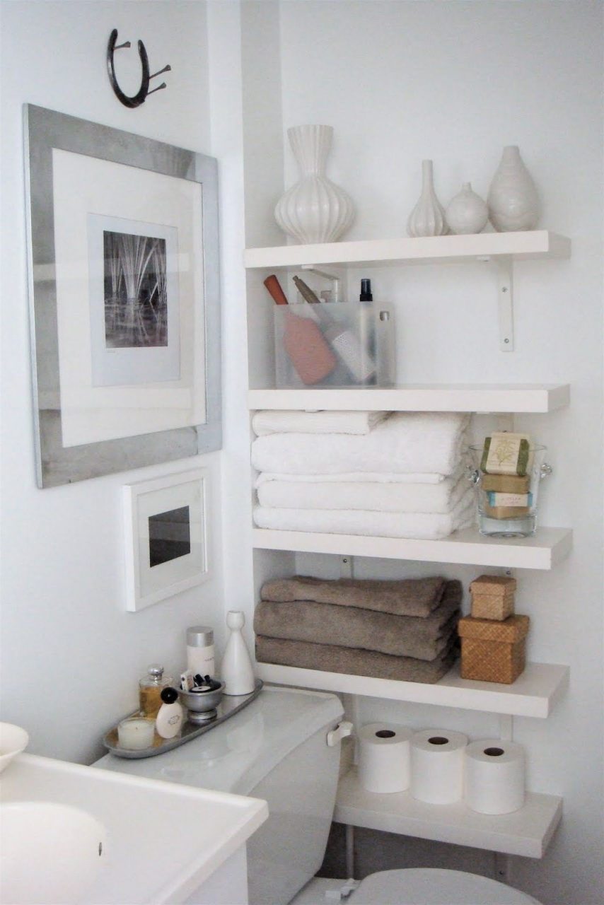 Interior Creative Diy Bathroom Shelving Ideas Storage With Baskets