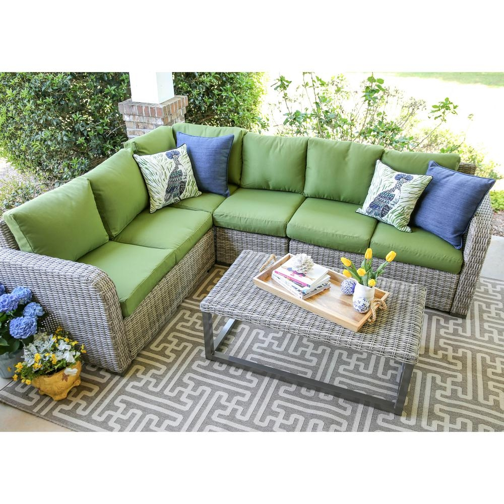 Leisure Made Forsyth 5 Piece Wicker Outdoor Sectional Set With Green