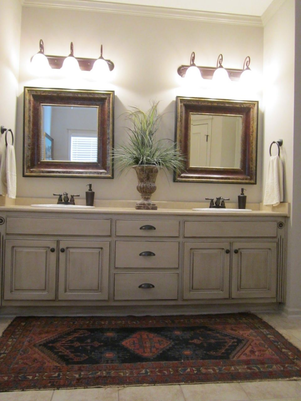 Love These Painted Bathroom Cabinets And The Lights What I Would